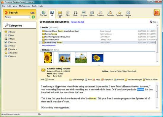 Desktop search program