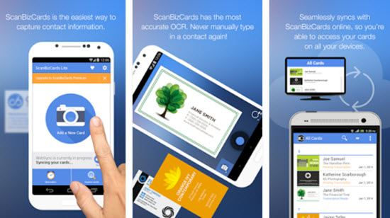 5 best business card scanner apps for android and ios appginger scanbizcards business card scanner apps reheart Images