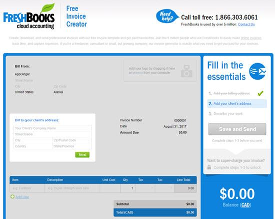 Best Free Online Invoice Generator AppGinger - Freshbooks free invoice for service business