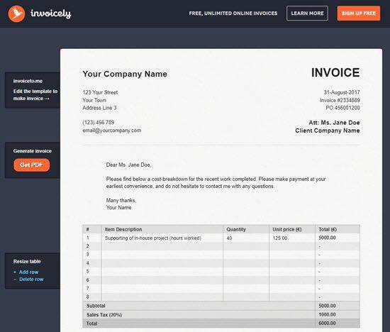 InvoiceToMe Free Invoice Generator  Free Online Invoices
