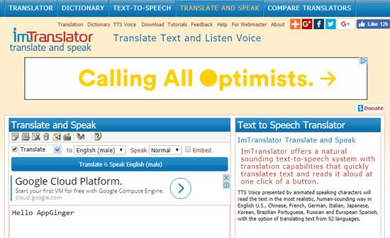 ImTranslator Text to Speech Software